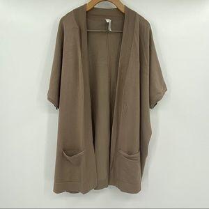 Chico's short sleeve open front cardigan sz 3 tan